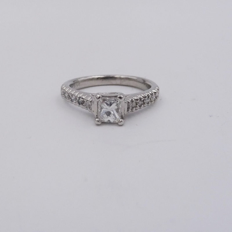 Princess Cut Diamond Platinum Engagement Wedding Ring .70ctw