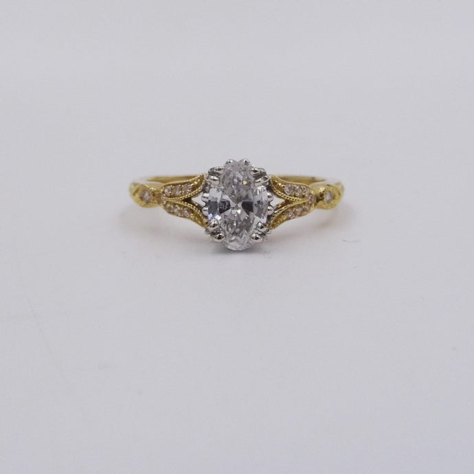 3/4ctw Oval Cut Diamond Engagement Wedding 18K Yellow Gold Ring