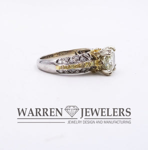 2.27CTW Cushion Cut Diamond in White and Yellow Diamond 18K Wedding Ring