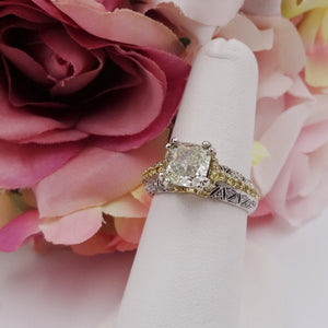 2.27CTW Cushion Cut Diamond 18K Ring