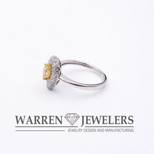 1.08ctw Yellow Pear Brilliant Cut Diamond Halo Engagement Wedding Ring