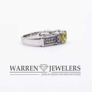 1.82ctw Yellow Round Brilliant Cut Diamond Wedding Ring 14K White Gold