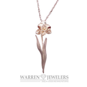 14K white gold floral daffodil Necklace