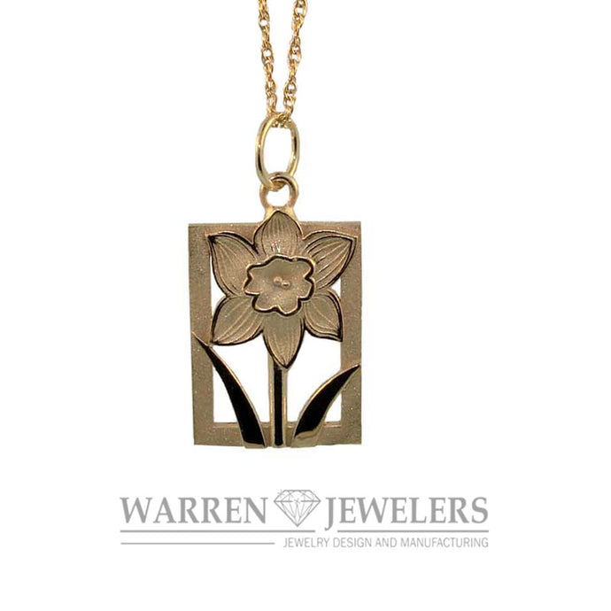 Daffodil Tile Floral Motif 14K Yellow gold Pendant-Medium