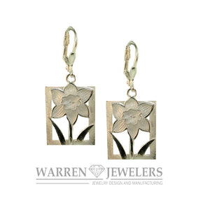 Daffodil Tile 14K Gold Floral Motif Earrings-Large