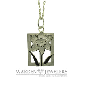 Daffodil Tile White Gold Pendant- Extra Large