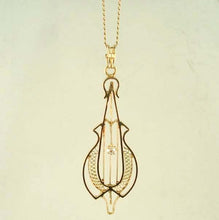 Vintage Estate .03ct Old Mine Cut Victorian Cello Pendant Necklace