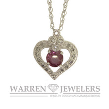 Pink Sapphire and Diamond Heart Shape Necklace Pendant 14K White Gold
