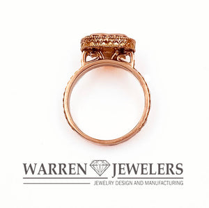 1.21ctw Pink Heart Cut Diamond Rose Gold Halo Wedding Occasion Ring 14K RG