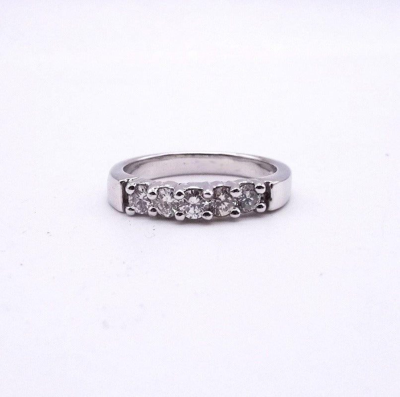 5-Stone Diamond  Engagement Wedding Anniversary Band 14K White Gold 1/2ctw