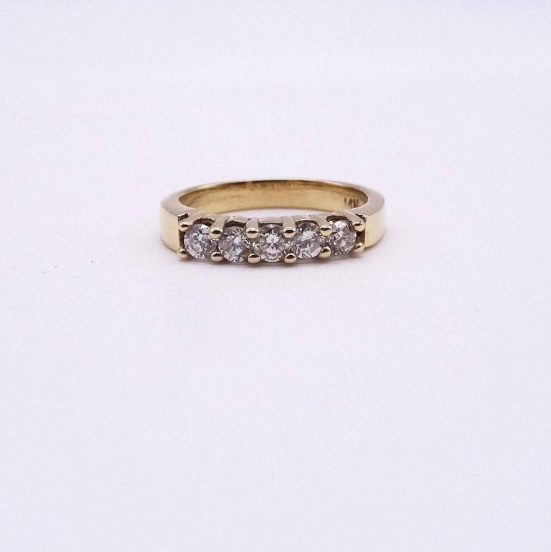 5-Stone Diamond Engagement Wedding Anniversary Band 14K YG 1/2ctw