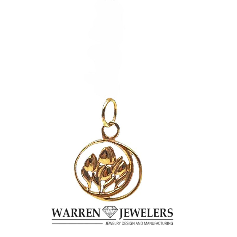 Floral Moonlight Tulip Pendant Charm 14K Gold