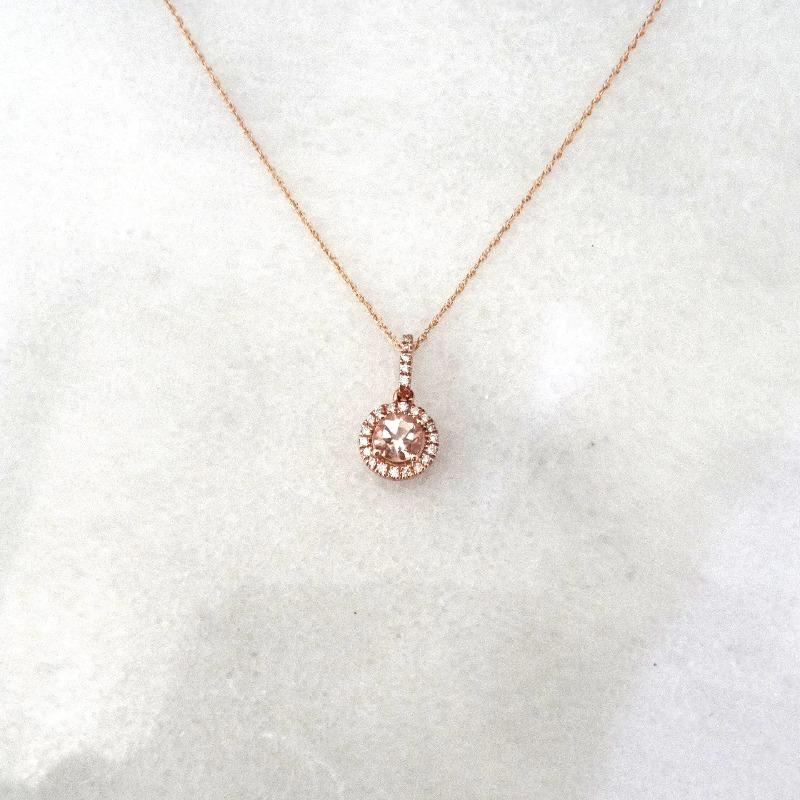 Pink Morganite and Diamond Halo Pendant Necklace in 14K Rose Gold
