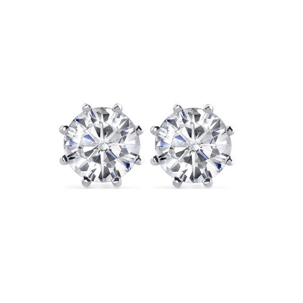 Vintage .62ctw Diamond Old European Cut Estate Earrings 14K White Gold