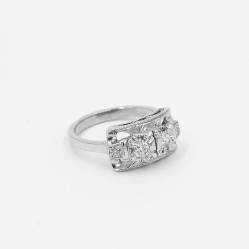 Vintage .22ctw Old European Cut Diamond  Ring