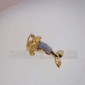 Natural Opal Orca Whale Pendant Necklace 14K Yellow Gold