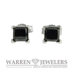 1.13ctw Princess Cut Black Diamond Earring