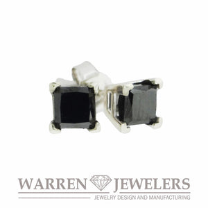 1.13ctw Princess Square Cut Black Diamond Earrings in 14K White Gold