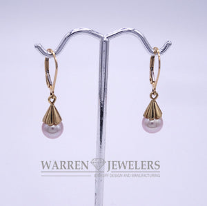 Cultured Pink Pearl 7mm  Round Pearl Dangle Earrings 14K Yellow Gold