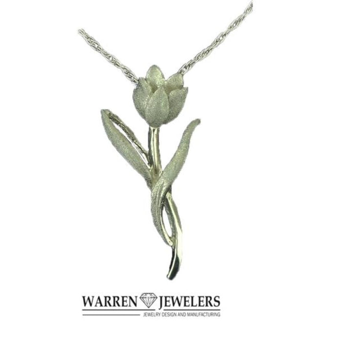 Petite Pink Diamond Tulip Floral Necklace Pendant Sterling Silver
