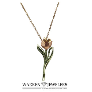 Petite Pink Diamond Tulip Floral Necklace in 14K Pink and Green Gold