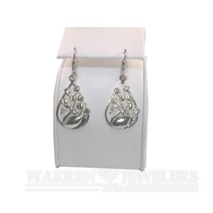 Swan and Tulip Floral Earrings 14K White Gold, Yellow Gold and Sterling Silver