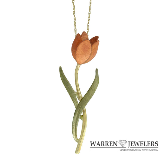 Pink Diamond Tulip Floral Pendant-14K Gold Pink and Green Gold