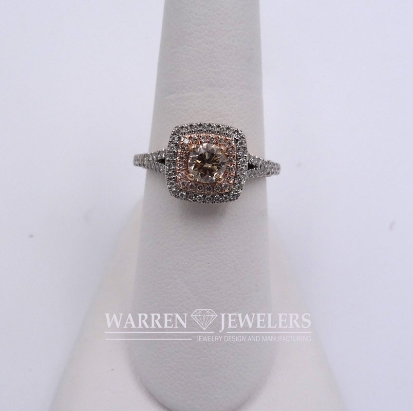 1.03ctw Pink Diamond Halo Engagement Ring