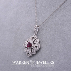 Ruby and Diamond Filigree Vintage Estate Style Pendant Necklace 10K WG