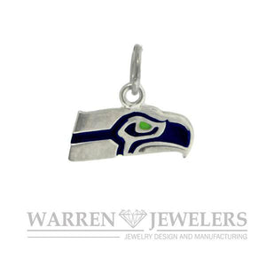Seattle Seahawk Style Team Sport Blue and Green Sterling Silver Charm Pendant