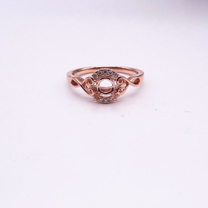 .05ctw  Rose Gold Halo Ladies Diamond Wedding Ring Mounting