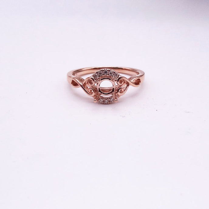 .07ctw 14K Rose Gold Diamond Halo Ring Mounting
