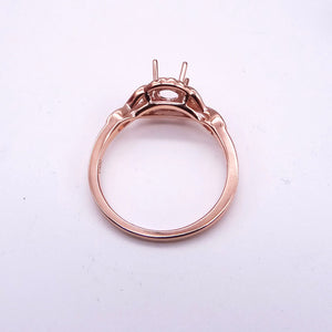 .06ctw Rose Gold Diamond Half Halo Ring Mounting side view