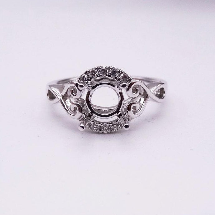 1/10ctw White Gold Diamond Half Halo Ring Mounting