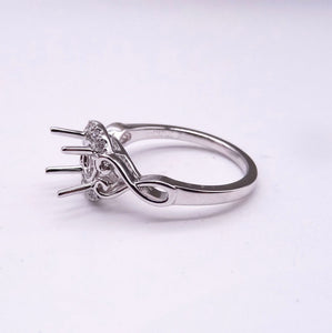1/10ctw White Gold Diamond Half Halo Ring Mounting side view
