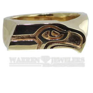 Seattle Seahawk Style 14K Yellow Gold Ring