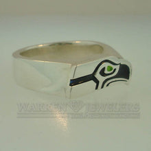 Seattle Seahawks Blue and Green Sterling Silver Ring