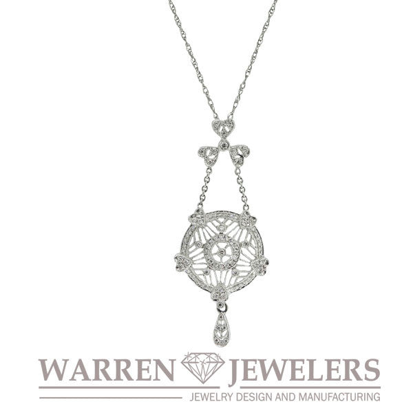 1/2ctw Fancy Filigree Diamond Vintage Style Pendant Necklace14K White Gold