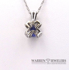 Tanzanite and Diamond Pendant Necklace 14K White Gold