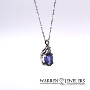 Tanzanite1.44ct and Diamond Pendant Necklace in 14K White Gold