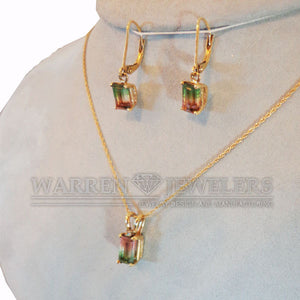 Watermelon Green White and Pink Tourmaline Pendant Necklace and Earrings Set