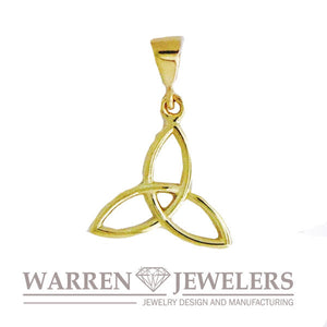 Celtic Trinity Charm Pendant Available in Yellow Gold White Gold and Silver