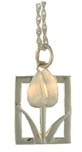 Tulip Tile Sterling Silver Pendant-Large from Warren Jewelers