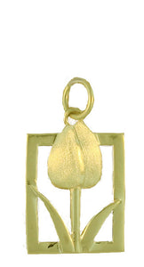 Tulip Tile Gold Charm in Large from Warren Jewelers