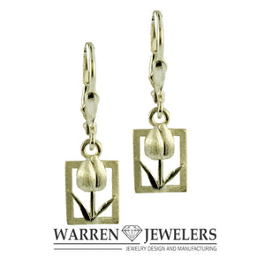 Tulip Tile Tulip Floral 14K Gold Earrings in White or Yellow Gold-Large