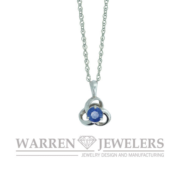 Blue Sapphire Knot Pendant Necklace 14K White or Yellow Gold