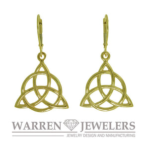 Celtic Trinity with Circle Earrings in Yellow Gold