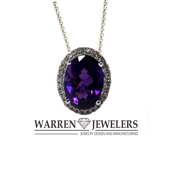 Purple Oval Dark Amethyst and Diamond Halo Pendant Necklace 4.03ct Oval