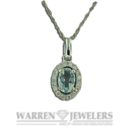Aqua and Diamond Necklace in 14K White Gold