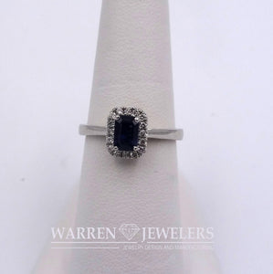 Blue Sapphire Emerald Cut and Diamond Halo Ring 14K White Gold